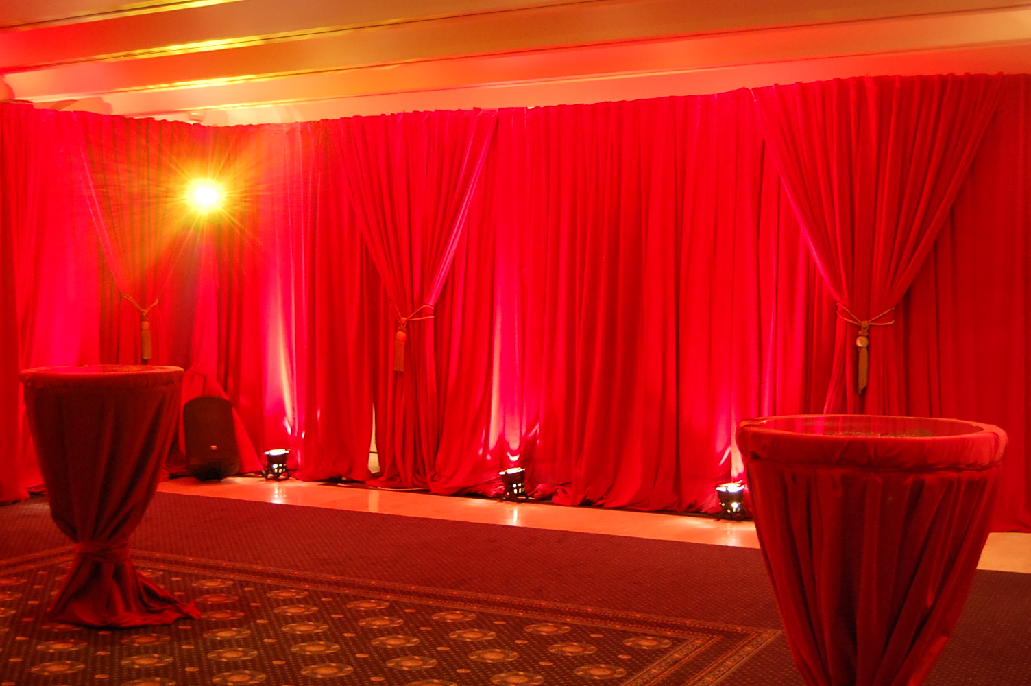 Velvet drapes for hire or sale, flame retardant curtain ...