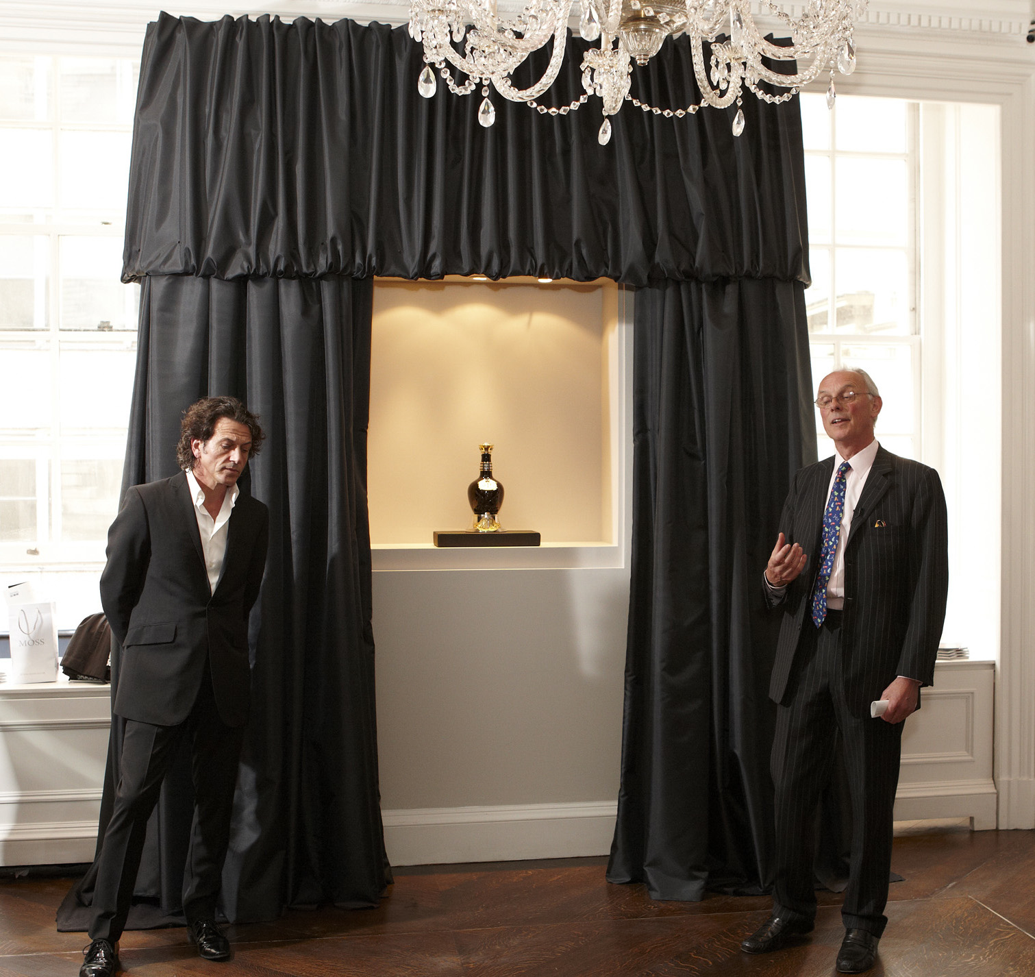 Black Trevira Drapes at the Garrard Store Launch