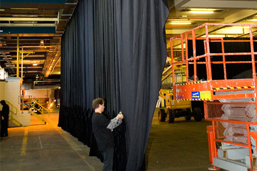 Black Wool Serge Drape installation